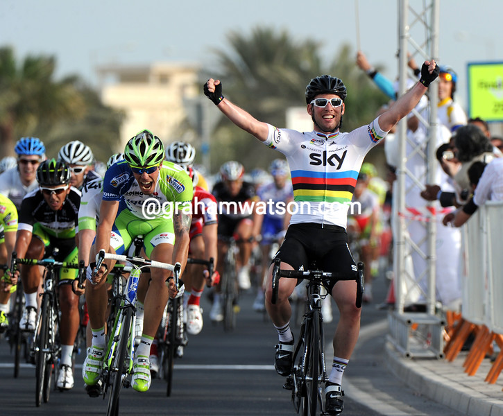 Mark Cavendish wins stage five of the 2012 Tour of Qatar