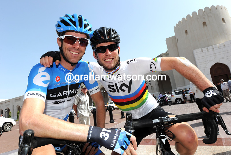 Mark Cavendish and David Millar before stage one of the 2012 Tour of Oman
