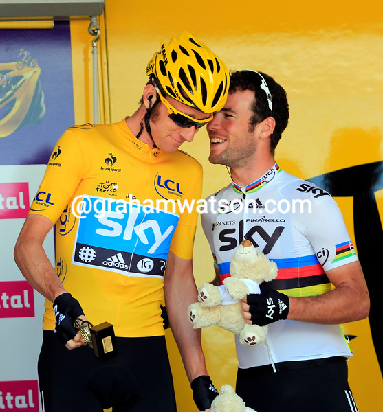 Bradley Wiggins and Mark Cavendish on stage eight of the 2012 Tour de France