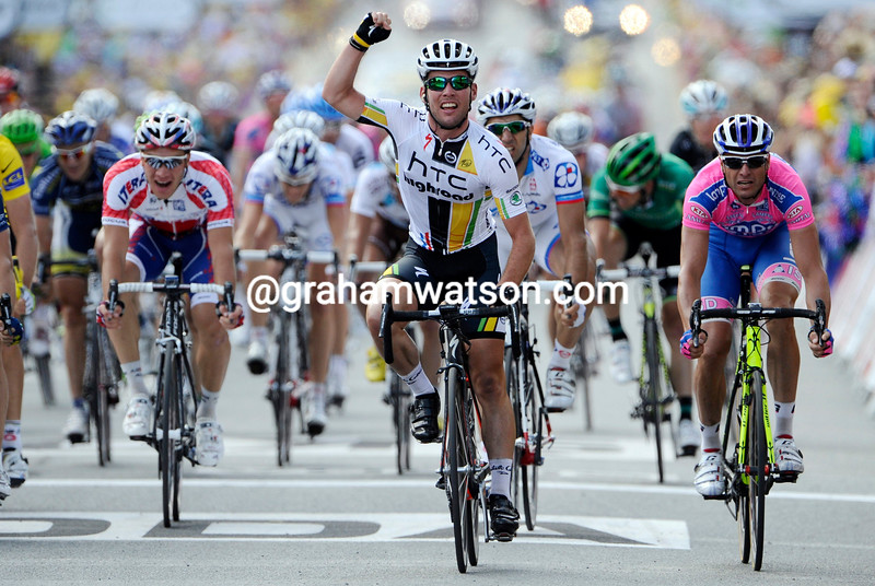 MARK CAVENDISH WINS STAGE SEVEN OF THE 2011 TOUR DE FRANCE