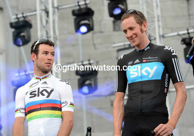 Mark Cavendish and Bradley Wiggins at the Tour de France presentation 2012