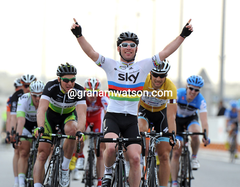 Mark Cavendish wins stage three of the 2012 Tour of Qatar