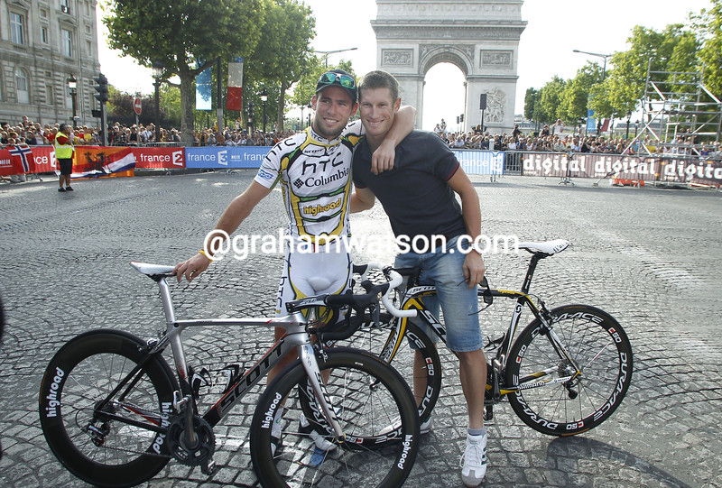MARK CAVENDISH WITH MARK RENSHAW  AFTER THE 2010 TOUR DE FRANCE