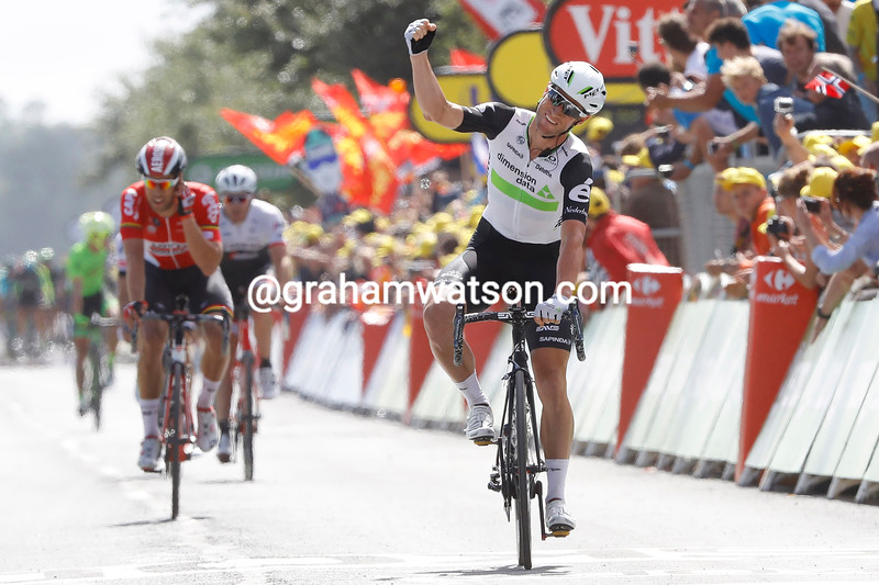 Mark Renshaw celebrates the victory of Mark Cavendish on stage 1 of the 2016 Tour de France