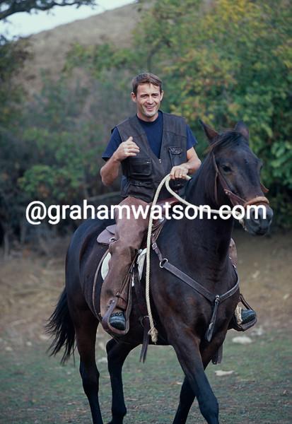 Massimiliano Lelli iat his Tuscany farm in 2000