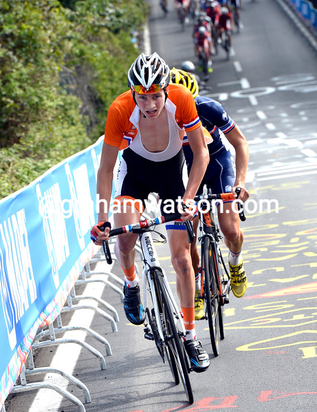 Mathieu Van Der Poel attacks in the Junior Mens road race at the 2013 World Championships