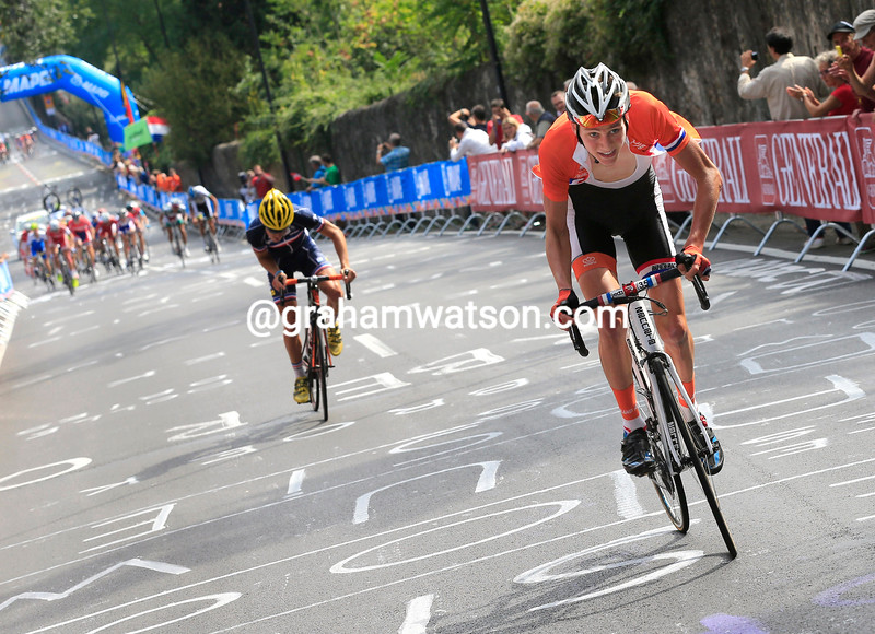 Mathieu Van Der Poel Makes the winning move in the Junior Mens road race at the 2013 World Championships