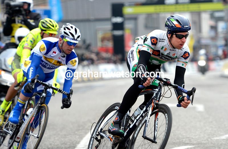 Matt Brammeier in the 2013 G.P.Scheldeprijs from Mark Cavendish