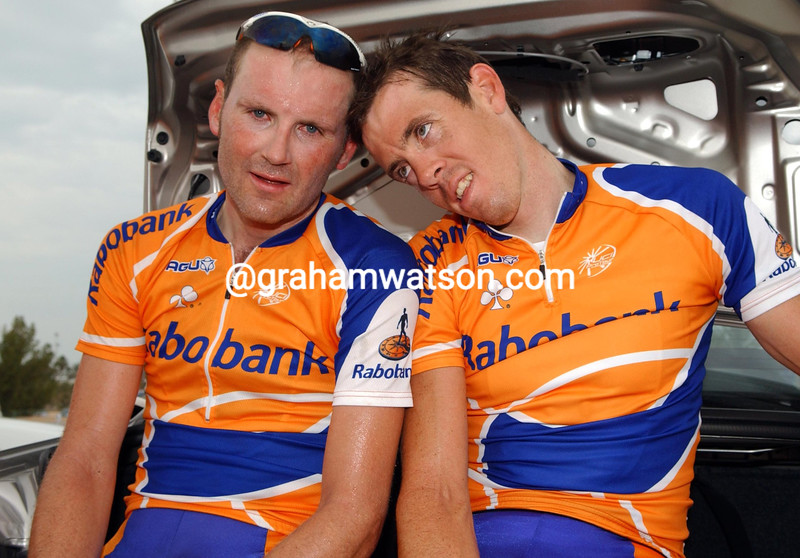 GRAEME BROWN (LEFT) AND MATTHEW HAYMAN FEIGN TIREDNESS AFTER STAGE FOUR OF THE TOUR OF QATAR