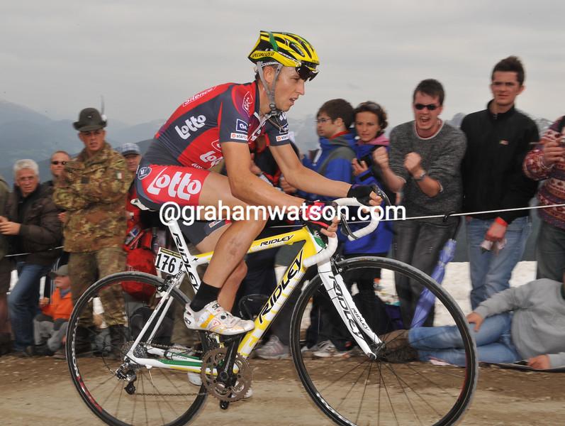 MATTHEW LLOYD ON STAGE SIXTEEN OF THE 2008 GIRO D'ITALIA