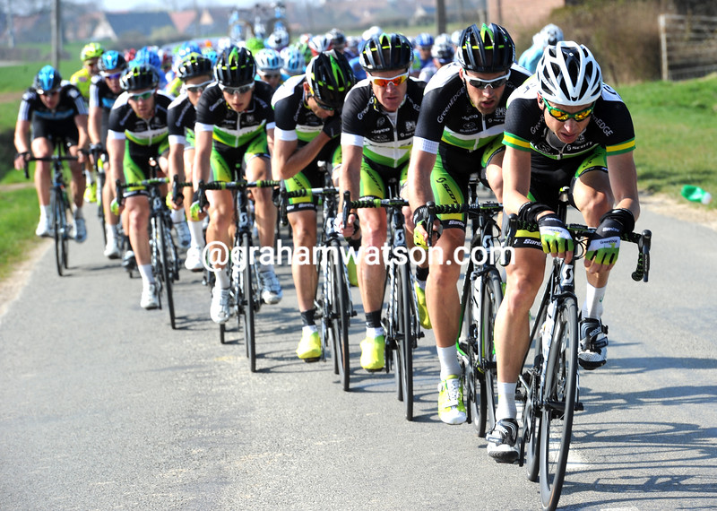 Matthew Wilon leads a Green Edge attack in the 2012 Ghent Wevelgem