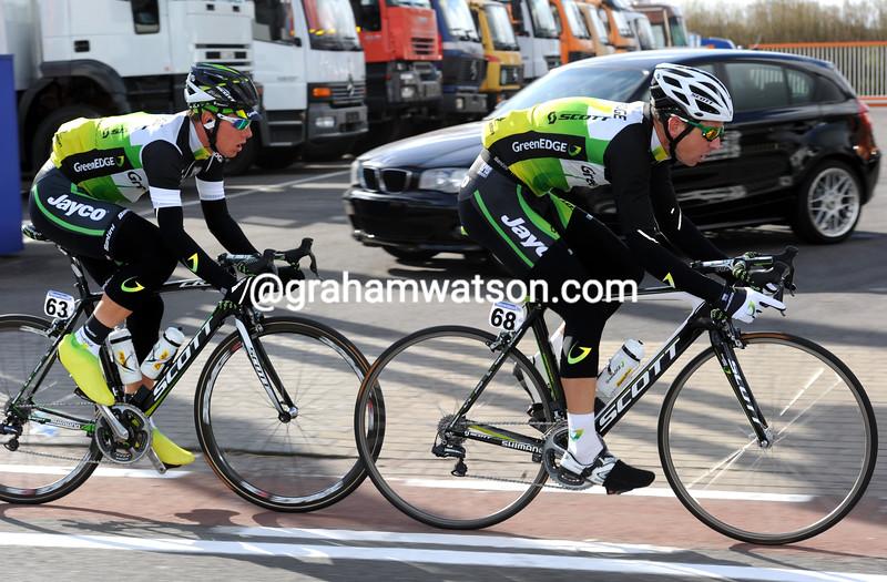 Matthew Wilson and Sebastian Langeveld in the 2012 Tour of Flanders