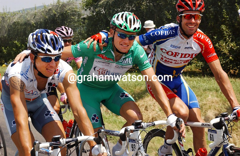 Matthew Wilson with Baden Cooke and David Millar in the 2003 Tour de France