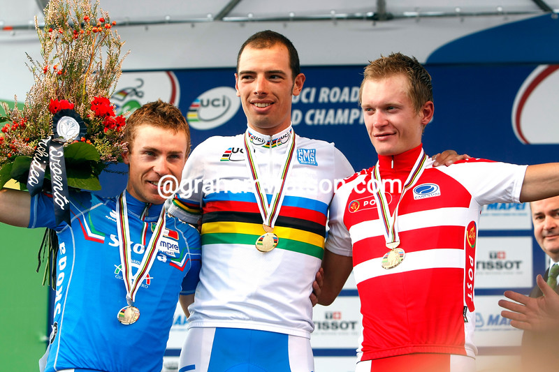 ALESSANDRO BALLAN WITH DAMIANO CUNEGO AND MATI BRESCHEL AT THE 2008 WORLD CHAMPIONSHIPS