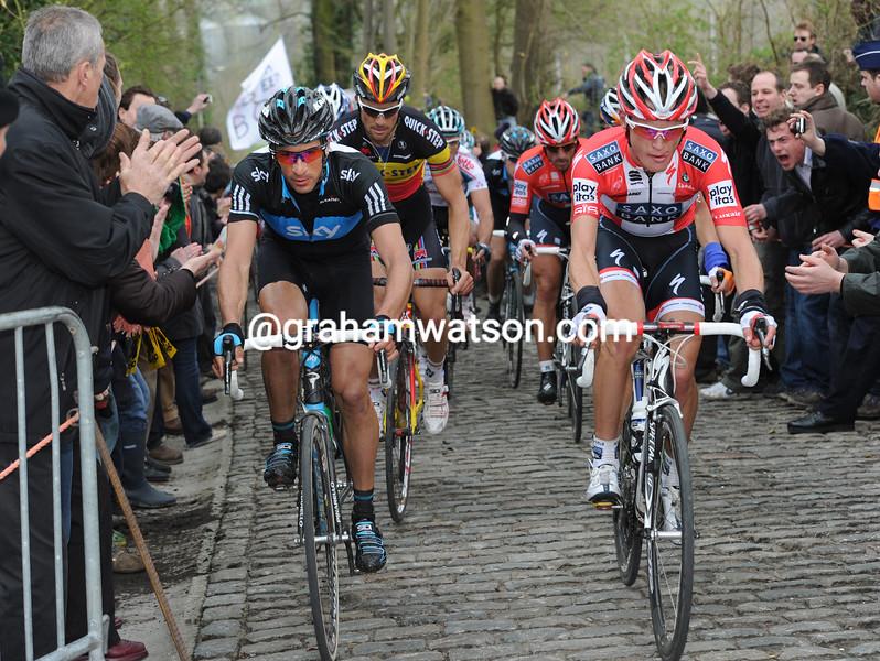 Matti Breschel and Juan Antonio Flecha on the Taaaienberg - in the 2010 Tour of Flanders