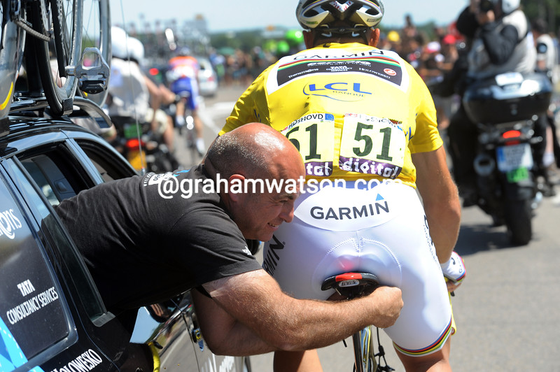 GEOFF BROWN AND THOR HUSHOVD ON STAGE THREE OF THE 2011 TOUR DE FRANCE