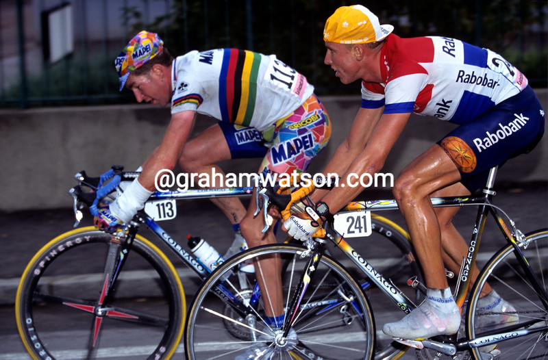 Michael Boogerd and Oscar Camenzind in the 1998 Giro di Lombardia