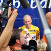 MICHAEL RASMUSSEN TALKS TO THE MEDIA BEFORE STAGE TWELVE OF THE 2007 TOUR DE FRANCE