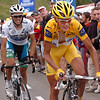 MICHAEL RASMUSSEN LEADS ALBERTO CONTADOR ON STAGE FOURTEEN OF THE 2007 TOUR DE FRANCE