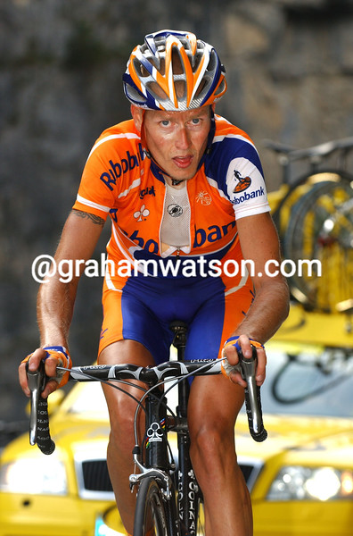 MICHAEL RASMUSSEN ON THE ALBULA PASS DURING STAGE SIX OF THE 2006 TOUR OF SWITZERLAND