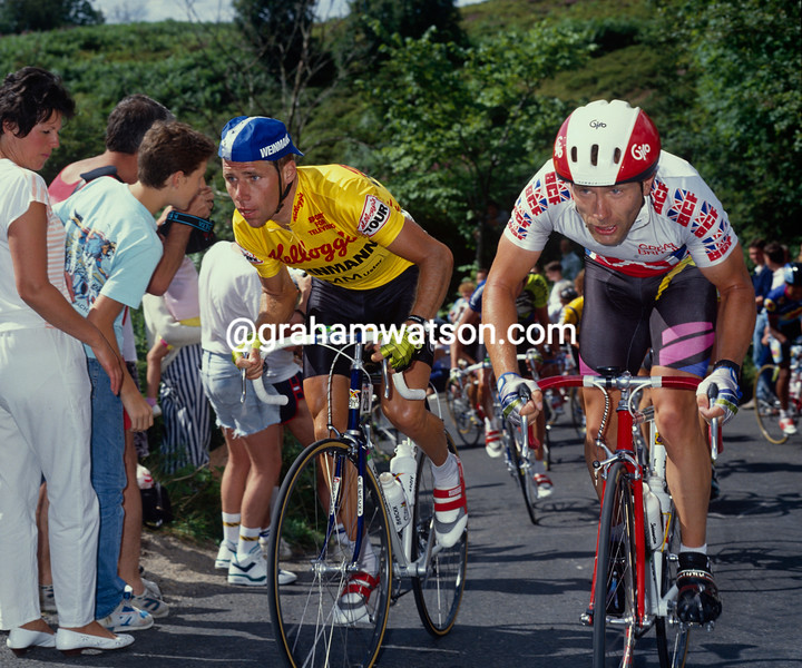 Michel Dernies and Paul Curran in the 1990 Tour of Britain