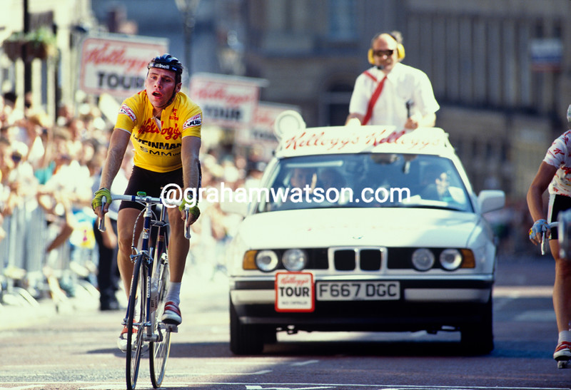 Michel Dernies finishes a stage of the 1990 Kellogg's Tour of Britain