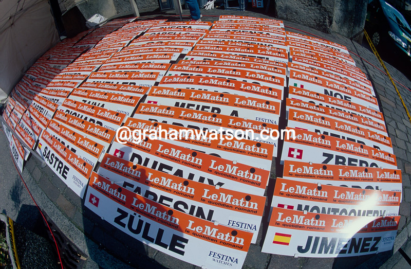 Name plates await the start of a time trial stage of the 1997 Tour de Romandie