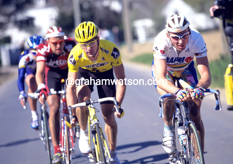 Johan Museeuw and Laurent Jalabert in the 1997 Tour of Flanders