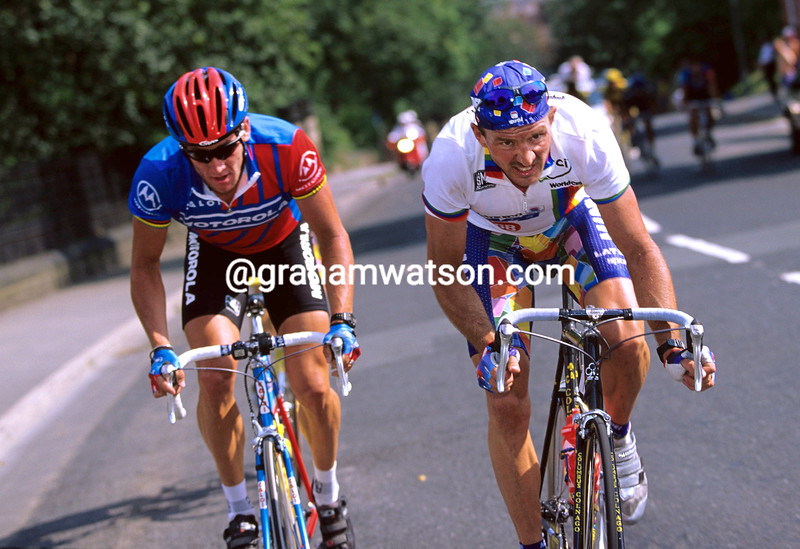 JOHAN MUSEEUW AND LANCE ARMSTRONG IN THE 1994 LEEDS INTERNATIONAL