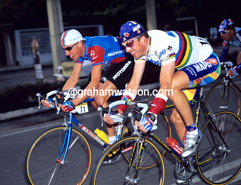 Johan Museeuw and Axel Merckx in the 1996 Giro di Lombardia