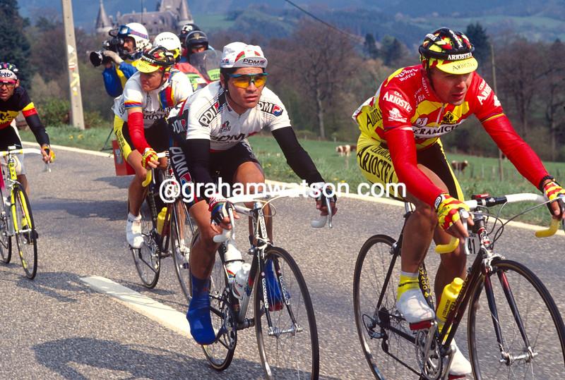 Moreno Argentin leads an escape in the 1991 Liege-Bastogne-Liege
