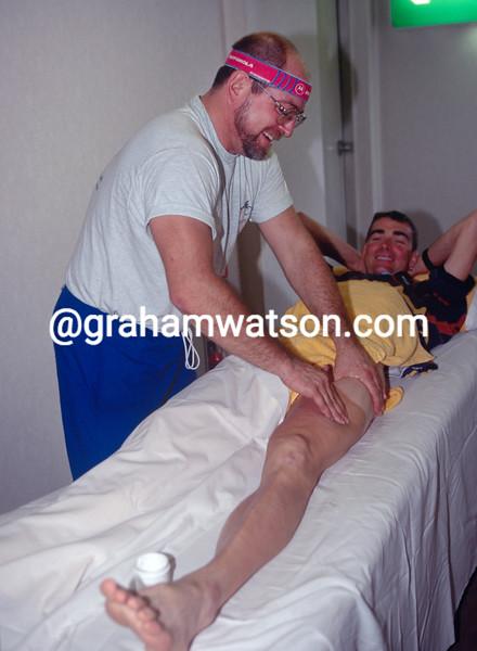 Sean Yates gets a massage from Motorola soigneur John Henderschott in 1996
