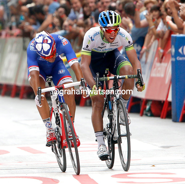 Nacer Bouhanni wins stage eight from Michael Matthews in the 2014 Tour of Spain