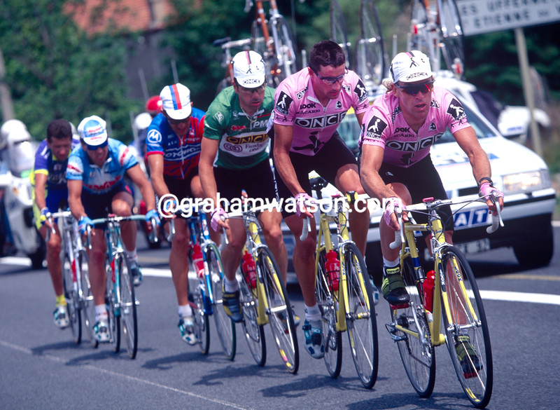 Neil Stephens leads an ONCE-led escape in the 1995 Tour de France