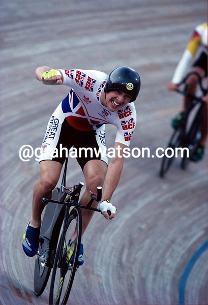 Chris Boardman celebrates winning the 4,000 metres pursuit Gold medal