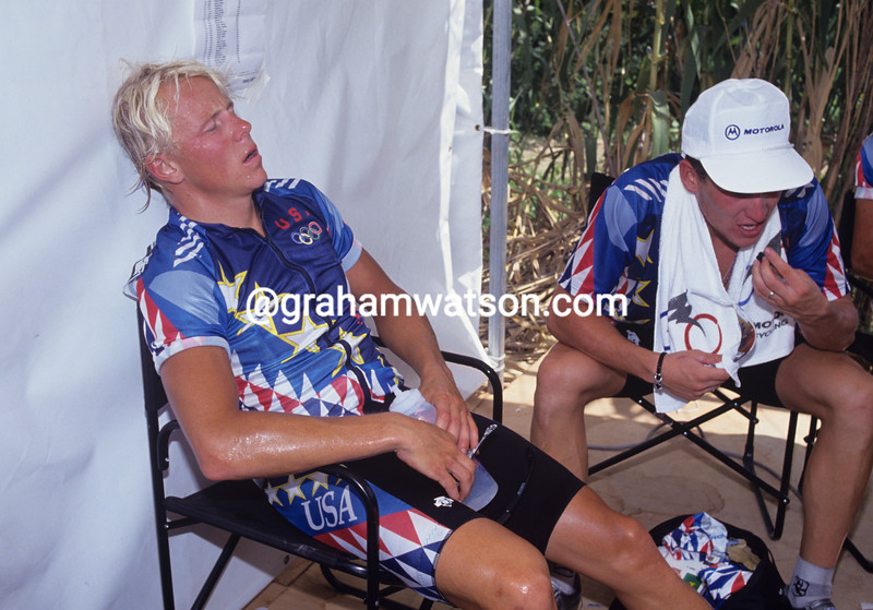 Bob Mionske after finishing the 1992 Olympic Games Road Race