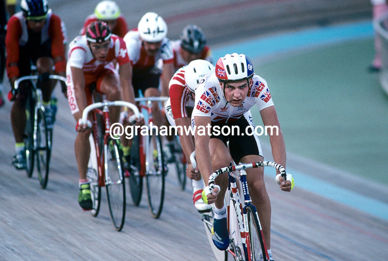 SIMON LILLISTONE IN THE 1992 OLYMPIC GAMES POINTS RACE