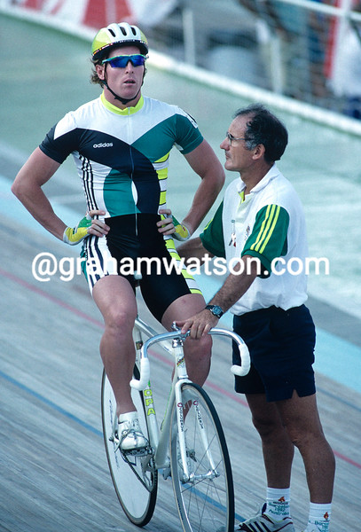 Gary Neiwand and Charly Walsh prepare for the sprint competition at the 1992 Olympic Games