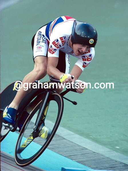 Chris Boardman on his way to winning the 4,000 metres pursuit Gold medal