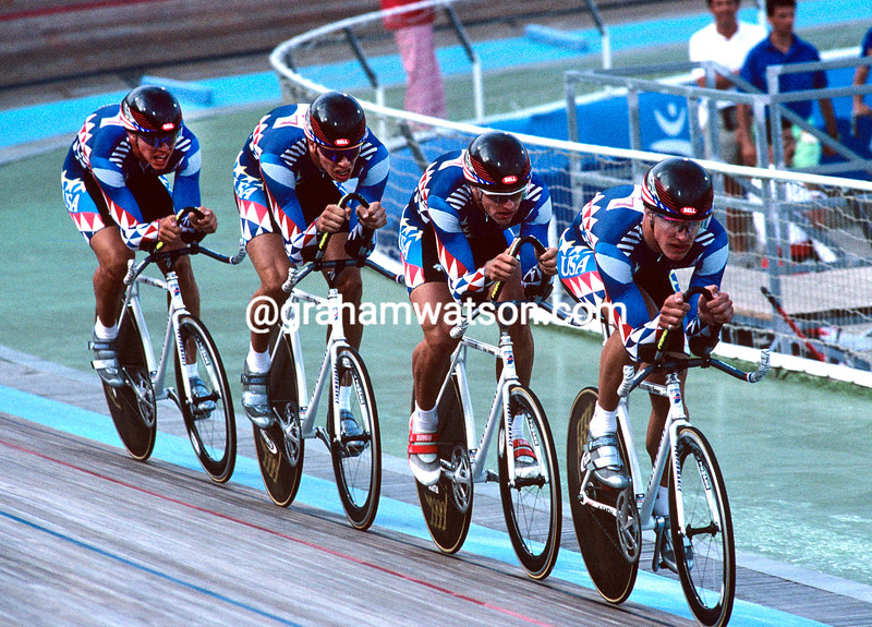 The USA pursuit team at the 1992 Olympics