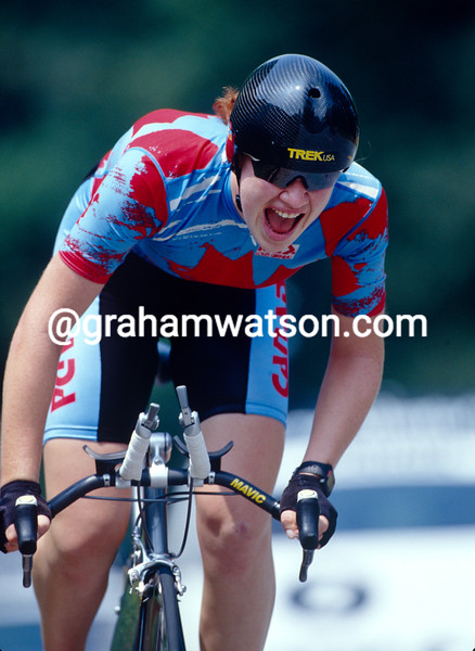 Clara Hughes in the 1996 Olympic Games womens time trial
