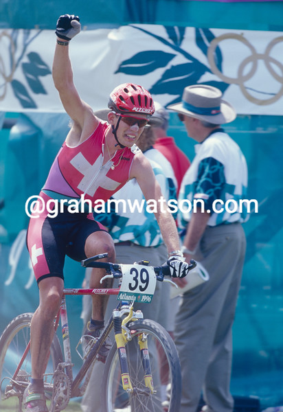 Thomas Frischknecht wins the mountain-bike silver medal in the 1996 Olympic Games