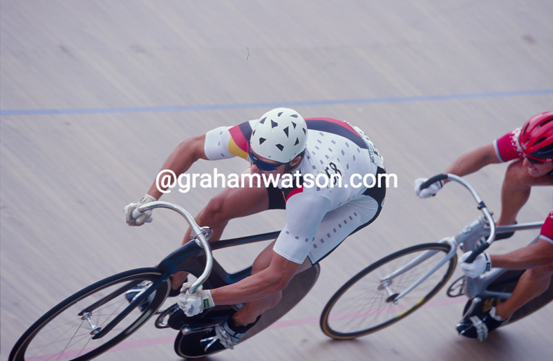Jens Fiedler sprints aganist Marty Nothstein in the 1996 Olympic Games