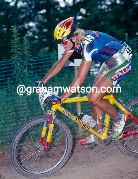 Paolo Pezzo winning the MTB Gold medal in the 1996 Olympic Games