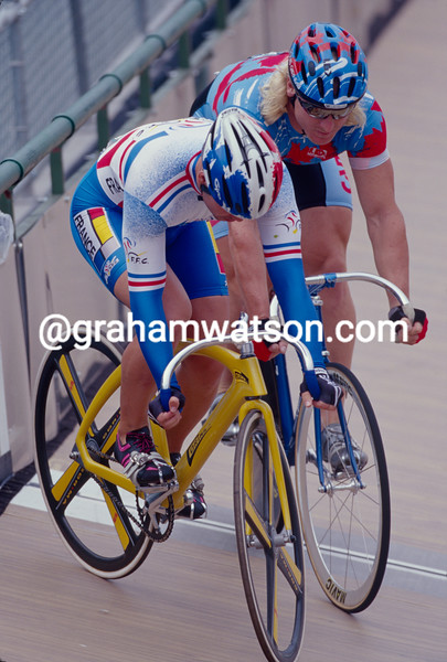 Frederic Magne and Curt Harnett in the 1996 Olympic Games Mens Sprint