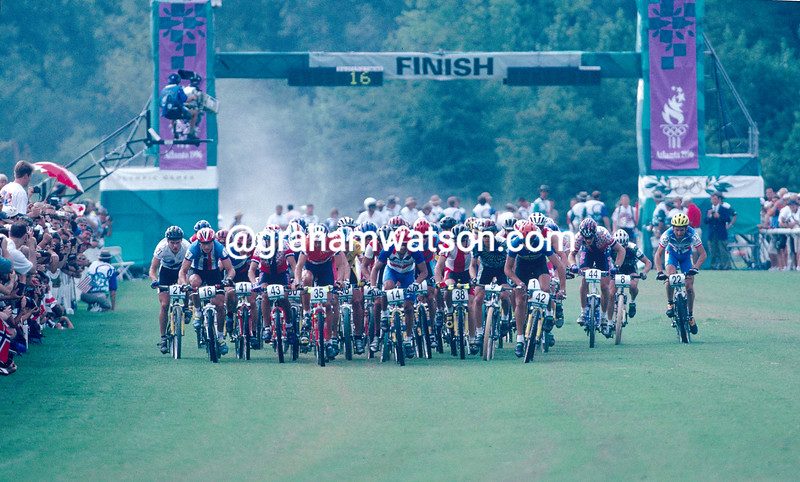 The start of the mens MTB race in the 1996 Olympic Games