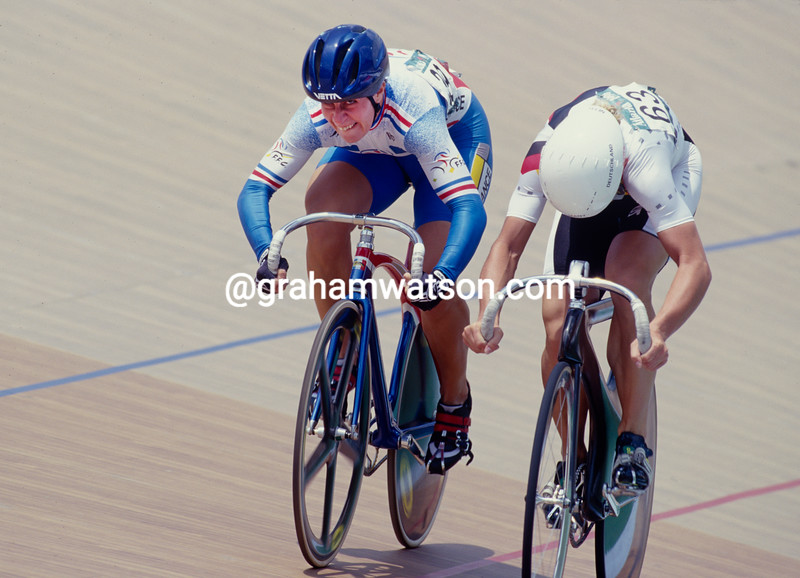 Felicia Ballanger and Annett Neumann fight out a sprint in the 1996 Olympic Games