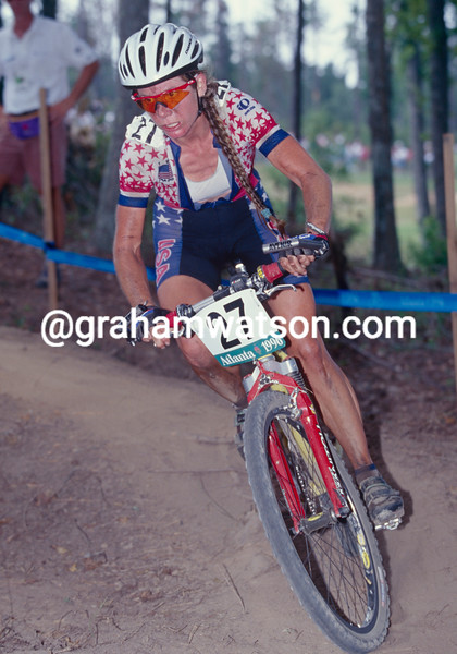 Inga Thompson wins the mountain-bike bronze medal in the 1996 Olympic Games