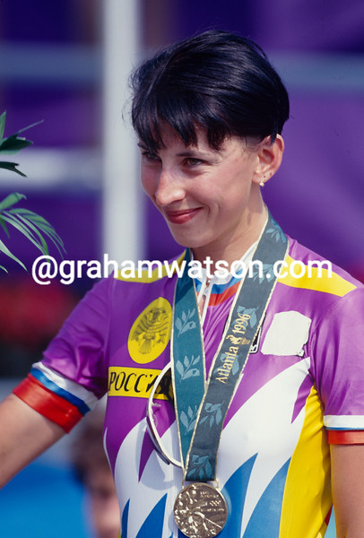 Zulfiya Zabirova wins the  time trial Gold medal in the 1996 Olympic Games