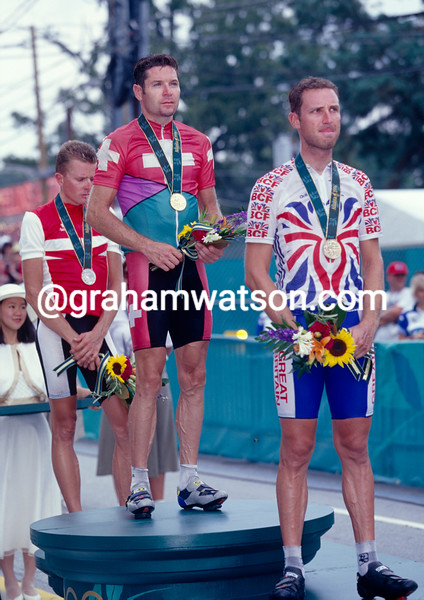 Pascal Richard wins the Gold medal in the 1996 Olympic Games Road Race with Sciandri and Sorensen alongside him
